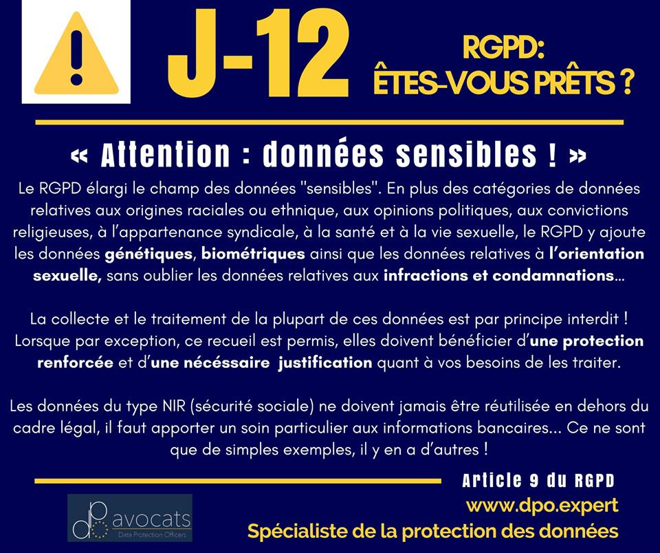 RGPD J-12 … Attention : données sensibles !