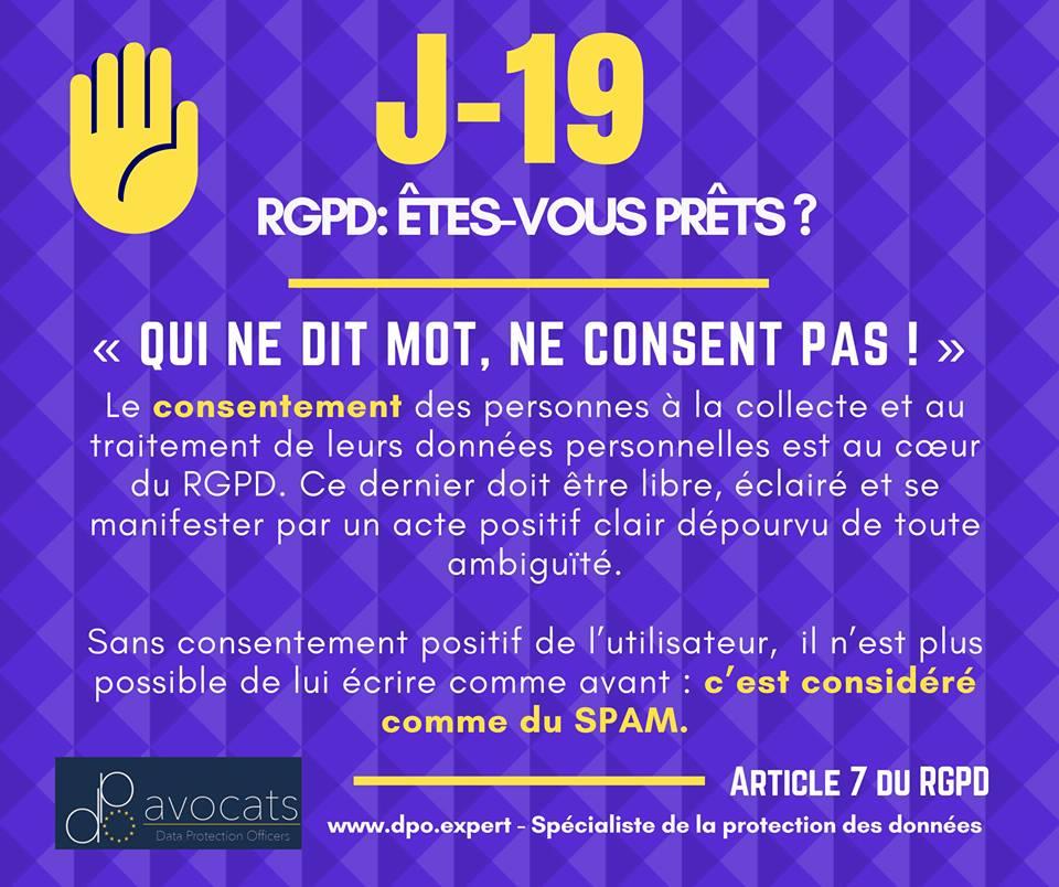 RGPD J-19 … Qui ne dit mot, NE consent PAS!